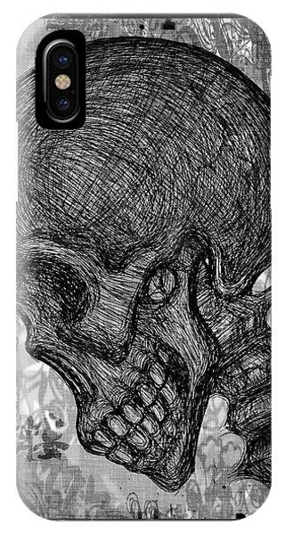 Dark Humor iPhone Case - Gothic Skull by Akiko Okabe