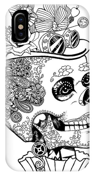 Steampunk Sugar Skull IPhone Case