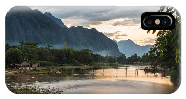 Sunset Over Vang Vieng River In Laos IPhone Case