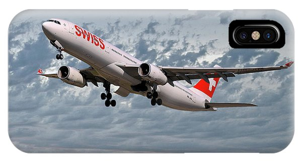 Jet iPhone X / XS Case - Swiss Airbus A330-343 by Smart Aviation