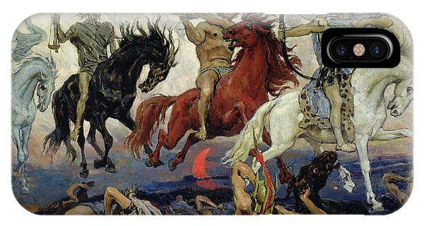 Horseman iPhone Case - The Four Horsemen Of The Apocalypse by Victor Mikhailovich Vasnetsov