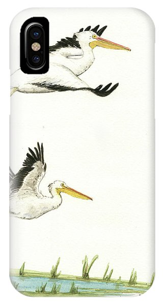 Bird Watercolor iPhone Case - The Fox And The Pelicans by Juan Bosco