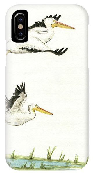 Bird iPhone Case - The Fox And The Pelicans by Juan Bosco