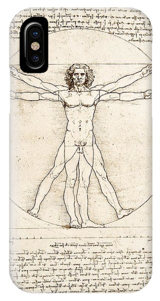 Black And White iPhone X Case - The Proportions Of The Human Figure by Leonardo Da Vinci