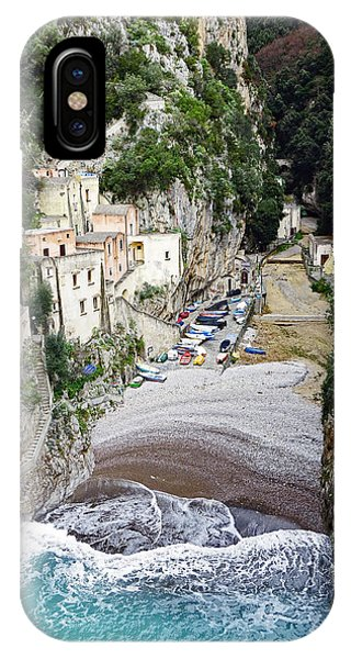 This Is A View Of Furore A Small Village Located On The Amalfi Coast In Italy  IPhone Case