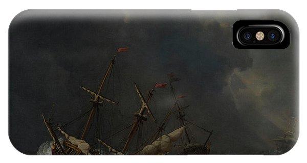 Damage iPhone Case - Three Ships In A Gale by Willem van de Velde