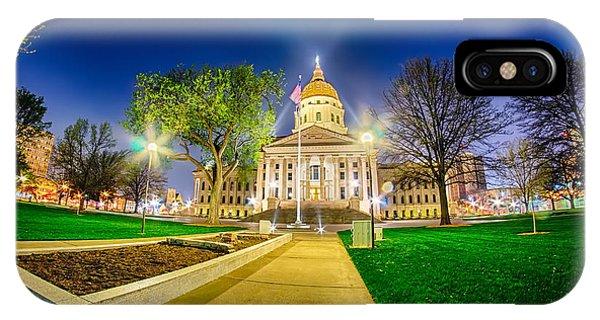 Topeka Kansas Downtown At Night IPhone Case