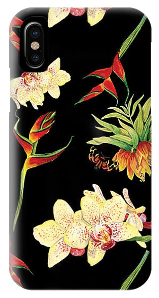 Tropical iPhone Case - Tropical Island Floral Half Drop Pattern by Audrey Jeanne Roberts