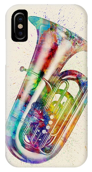 Musical iPhone Case - Tuba Abstract Watercolor by Michael Tompsett