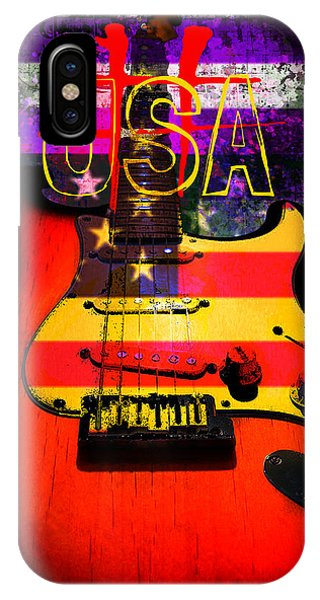 Red Usa Flag Guitar  IPhone Case