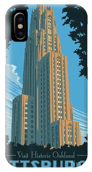 Bridge iPhone Case - Pittsburgh Poster - Vintage Style by Jim Zahniser