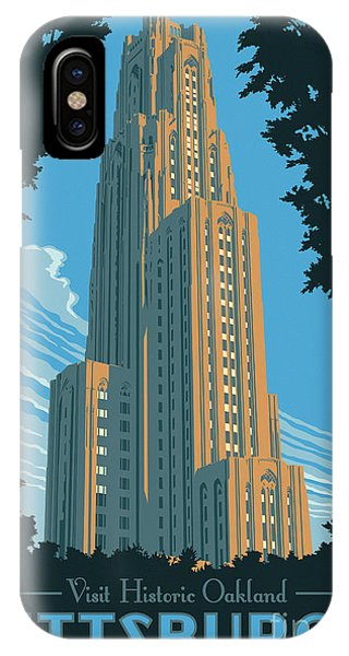 River iPhone Case - Pittsburgh Poster - Vintage Style by Jim Zahniser