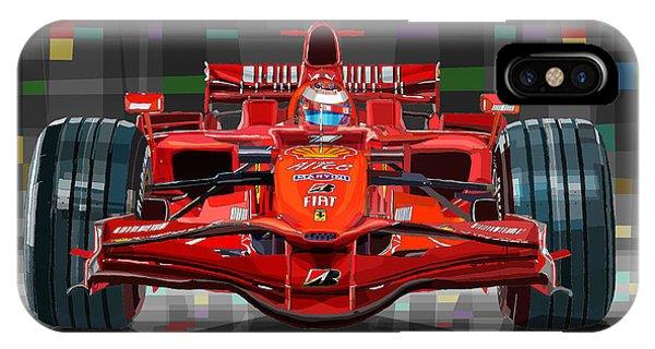 Automotive iPhone Case - 2008 Ferrari F1 Racing Car Kimi Raikkonen by Yuriy Shevchuk