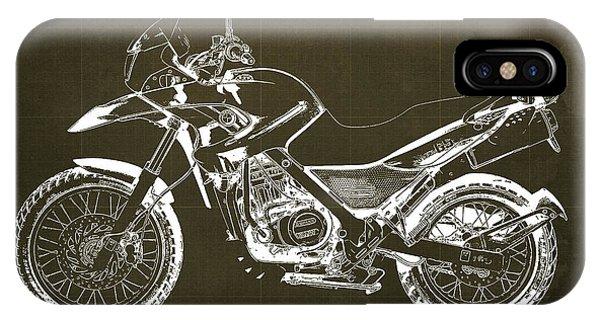 Arte iPhone Case - 2010 Bmw G650gs Vintage Blueprint Brown Background by Drawspots Illustrations
