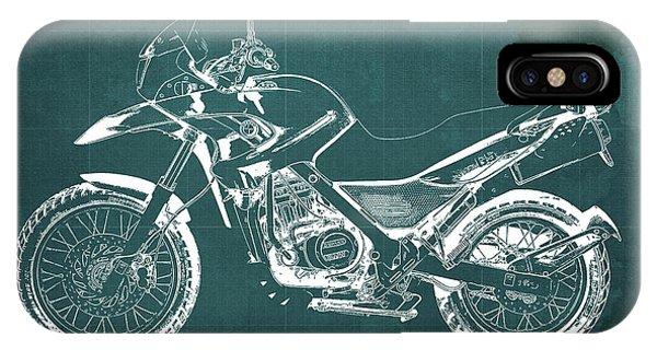 Arte iPhone Case - 2010 Bmw G650gs Vintage Blueprint Green Background by Drawspots Illustrations