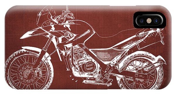 Arte iPhone Case - 2010 Bmw G650gs Vintage Blueprint Red Background by Drawspots Illustrations