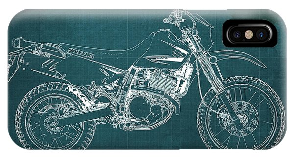 Pub iPhone Case - 2012 Suzuki Dr650se Motorcycle Blueprint Green Background Awesome Gift For Men by Drawspots Illustrations
