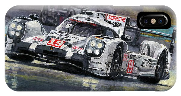 Automotive iPhone Case - 2015 Le Mans 24 Lmp1 Winner Porsche 919 Hybrid Bamber Tandy Hulkenberg by Yuriy Shevchuk
