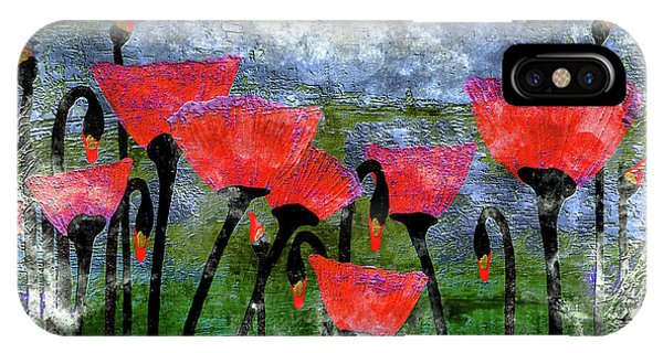 26a Abstract Floral Red Poppy Painting IPhone Case