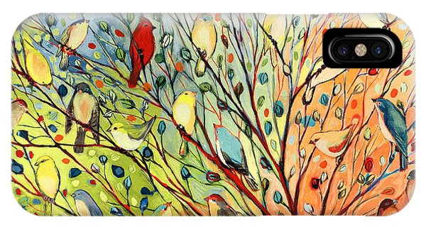 Green iPhone Case - 27 Birds by Jennifer Lommers