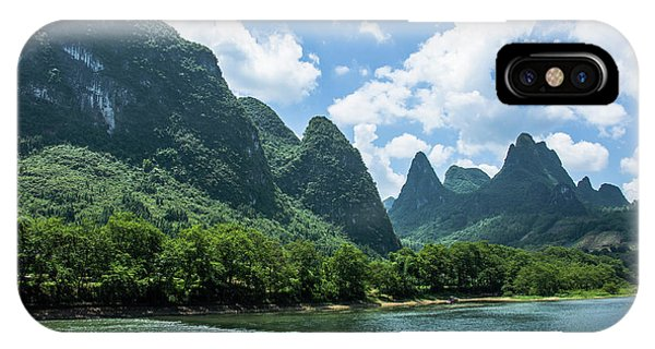 IPhone Case featuring the photograph Lijiang River And Karst Mountains Scenery by Carl Ning