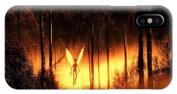 Saucer iPhone Case - Alien Angel By Raphael Terra by Raphael Terra