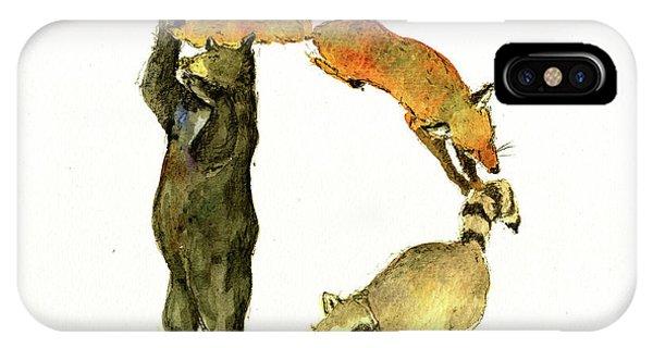 Raccoon iPhone Case - Animal Letter by Juan Bosco
