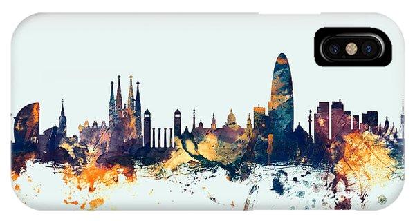Barcelona iPhone Case - Barcelona Spain Skyline by Michael Tompsett