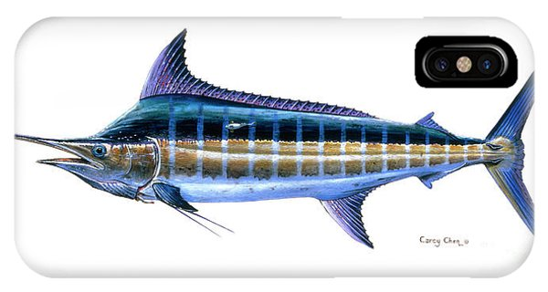 Reel iPhone Case - Blue Marlin by Carey Chen