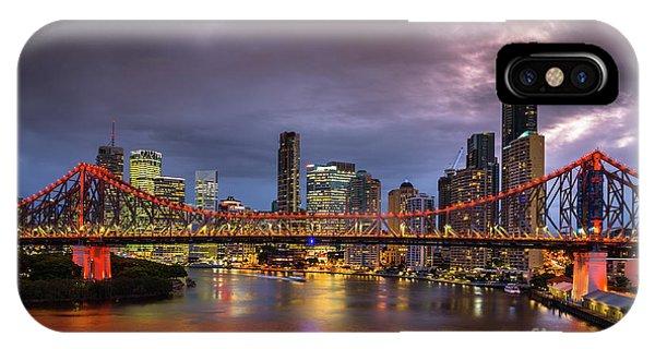 Brisbane City Skyline After Dark IPhone Case
