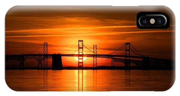 Chesapeake Bay iPhone X Case - Chesapeake Bay Bridge Sunset by Mark  Dignen