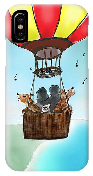 IPhone Case featuring the digital art 3 Dogs Singing In A Hot Air Balloon by Teresa Epps