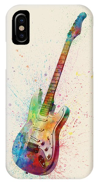 Guitar iPhone Case - Electric Guitar Abstract Watercolor by Michael Tompsett
