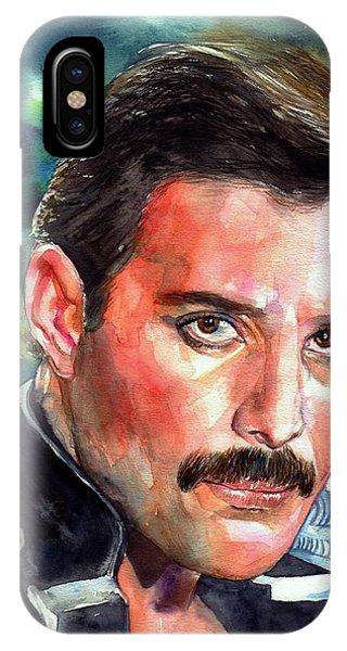 Blues Legends iPhone Case - Freddie Mercury Portrait by Suzann's Art