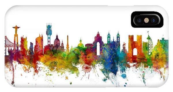 Portugal iPhone Case - Lisbon Portugal Skyline by Michael Tompsett
