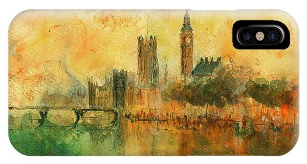 Big Ben iPhone Case - London Watercolor Painting by Juan  Bosco