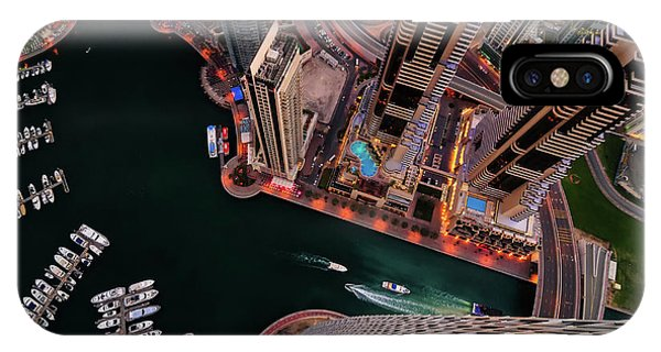 Majestic Colorful Dubai Marina Skyline During Night. Dubai Marina, United Arab Emirates. IPhone Case