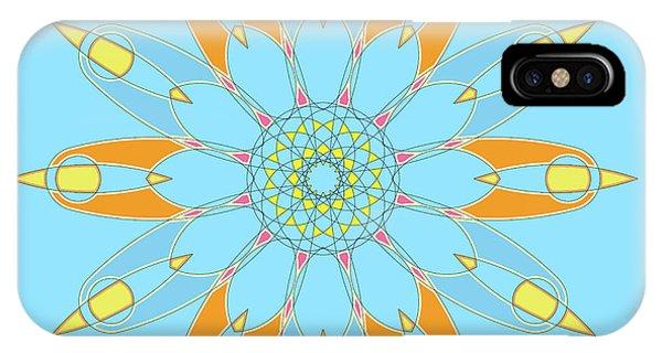 Arte iPhone Case - Mandala Cyan And Orange, Star, Abstract Star, Birthday Gift by Drawspots Illustrations