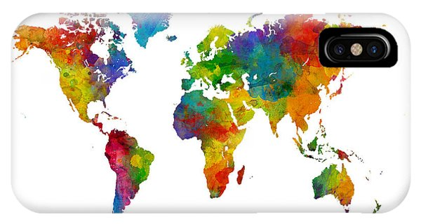 Planet iPhone Case - Map Of The World Map Watercolor by Michael Tompsett