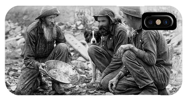 3 Men And A Dog Panning For Gold C. 1889 IPhone Case