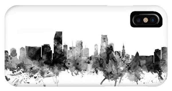 Miami Skyline iPhone Case - Miami Florida Skyline by Michael Tompsett