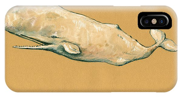 Whale iPhone Case - Moby Dick The White Sperm Whale  by Juan  Bosco