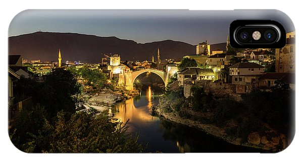 Mostar iPhone Case - Mostar Skyline At Night by Travel and Destinations - By Mike Clegg