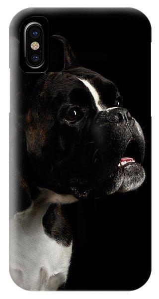 Dog iPhone X Case - Purebred Boxer Dog Isolated On Black Background by Sergey Taran