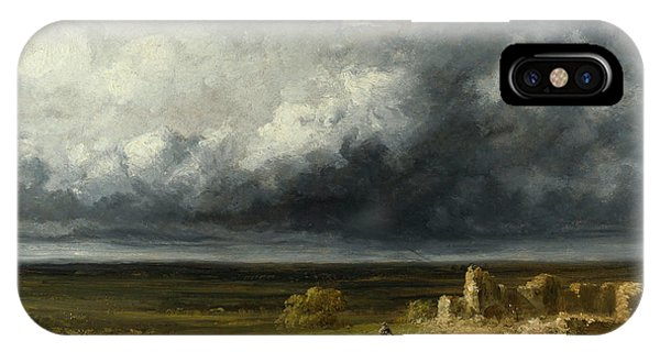 Barren iPhone Case - Stormy Landscape With Ruins On A Plain by Georges Michel
