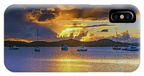 Sunrise Waterscape With Clouds And Boats IPhone Case