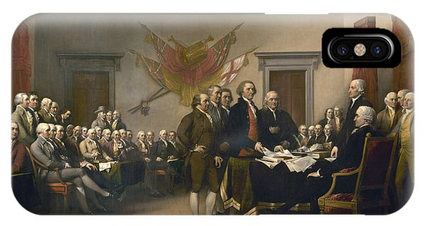 July 4 iPhone Case - The Declaration Of Independence - July 4, 1776 by John Trumbull