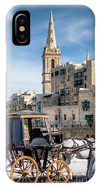 Tourist Horse Carriage In Old Town Street La Valletta Malta IPhone Case