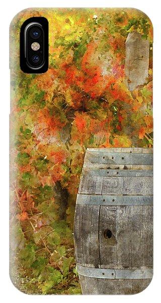 Wine Barrel In Autumn IPhone Case