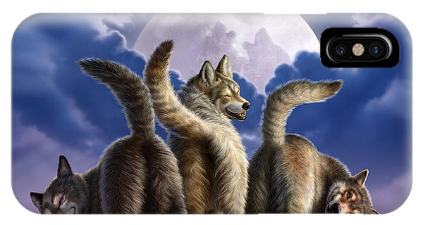 Humor iPhone Case - 3 Wolves Mooning by Jerry LoFaro
